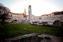 Occitan francés de la pronunciación de Arles: Arle en normas clásicas y de Mistralian; Arelate en latín antiguo Imagen de archivo libre de regalías
