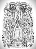Occult drawing with human skeleton in sandglass, monks with sun and moon, devils head and mystic symbols Stock Photo