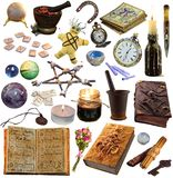 Big set with magic and occult objects isolated on white. Occult, esoteric, divination and wicca concept. Mystic and vintage astrology background for antique stock photos