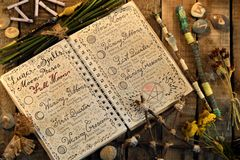 Open diary with lunar spells, pentagram and magic wands on witch table Stock Image