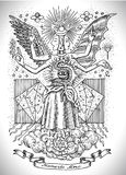 Occult and new age drawing of mystic and spiritual symbols, goddess of wisdom and eternity, vignette banner and constellations Stock Photography