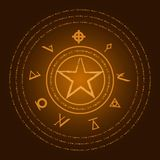 Occult symbols. Mark of the Devil. Ezotreic pictogram. Vector illustration Stock Photos