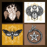 Occult Tattoo Set. Insects Occult Tattoo Sketch Concept. Occult Tattoo Hand Drawn Set. Magic Tattoo Vector Illustration. Magic Occult Tattoo Symbols. Magic Royalty Free Stock Photos