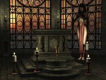 Occult temple  with female accolyte. Fantasy candlelit temple scene with female priestess near altar and golden sunlight shining through stained glass windows Stock Photography