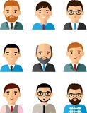 Occupation avatars of international different manager man and woman. Set of business avatar african american, european peoples in flat colorful style Stock Images
