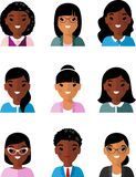 Occupation avatars of international different manager woman. Set of business avatar african american peoples in flat colorful style Stock Image