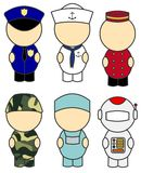 Occupation costumes. Six different occupation / fancy dress costumes illustrated in a cute form royalty free illustration