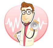 Occupation : Doctor. The doctor is holding a stetoscope and is ready to check your health Royalty Free Stock Images