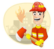 Occupation : Fire Fighter. Fire Fighter holding an axe Stock Photo