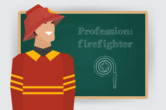 Occupation firefighter profession. Vector. Occupation, firefighter profession. Man in fire dept uniform standing at chalk board. Vector illustration Stock Images