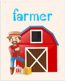 Occupation flashcard with farmer Stock Image