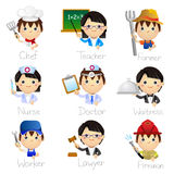 Occupation Icons. Cute cartoon character in different occupation with handwriting description Stock Image