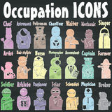 Occupation icons on chalk. Occupation icons drawn with chalk on a blackboard. In the form of vector Stock Image