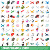 100 occupation icons set, isometric 3d style Royalty Free Stock Photo