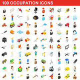 100 occupation icons set, isometric 3d style. 100 occupation icons set in isometric 3d style for any design vector illustration Stock Photos