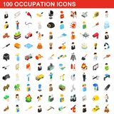 100 occupation icons set, isometric 3d style. 100 occupation icons set in isometric 3d style for any design illustration vector illustration