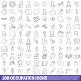 100 occupation icons set, outline style Stock Photos
