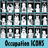 Occupation icons. White occupation icons on blue color background stock illustration