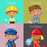 Occupation. Illustration of four squares of different occupations Royalty Free Stock Photo