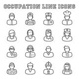 Occupation line icons. Mono vector symbols Royalty Free Stock Photography