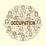Occupation minimal thin line icons set Stock Photography