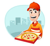 Occupation : Pizza delivery. Pizza delivery is bringing a pan of pizza Stock Photo