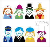 Occupation related style  icons children. 2 Royalty Free Stock Images