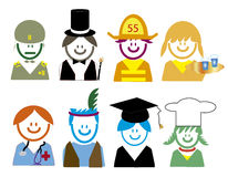 Occupation related style  icons children. 2 Royalty Free Stock Photos