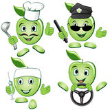 Occupation  Set. Apple character shows different occupations Royalty Free Stock Images