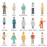 Occupation set. Cartoon character set of people in various occupations. Full length, isolated on white with flat design Stock Photography