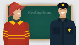 Occupation set, firefighter and policeman. Profession. Man in fire dept uniform standing at chalk board. Vector illustration Royalty Free Stock Photo