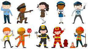 Occupation. Set of men and woman in different job costumes on white background Royalty Free Stock Images
