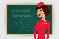 Occupation stewardess profession. Vector Stock Image
