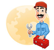 Occupation : Technician. Technician is holding a toolbox and wrench Royalty Free Stock Image