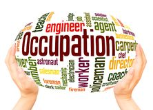 Occupation word cloud hand sphere concept royalty free stock images