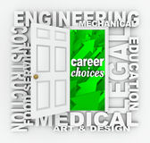 Occupation Word Door Job Choices Opportunities. A word door illustrating career and job opportunities such as engineering, construction, medical, design, legal stock illustration