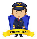 Occupation wordcard with airline pilot Stock Images