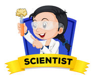 Occupation wordcard with female scientist Royalty Free Stock Photos