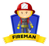Occupation wordcard with fireman Royalty Free Stock Photography