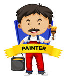 Occupation wordcard with painter Royalty Free Stock Image