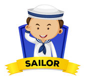 Occupation wordcard with sailor Stock Photos
