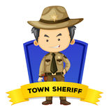 Occupation wordcard with town sheriff Stock Image