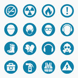 Occupational health icons and safety signs Royalty Free Stock Photo