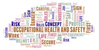 Occupational Health And Safety word cloud. Word cloud made with text only royalty free illustration