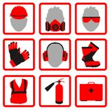 Occupational Safety and Health icons and signs set. Occupational Safety and Health vector icons and signs set. Protective helmet goggles, footwear, and Royalty Free Stock Image