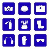 Occupational Safety and Health icons and signs set. Occupational Safety and Health vector icons and signs set. Protective helmet goggles, footwear, and Royalty Free Stock Photo