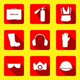 Occupational Safety and Health icons and signs set. Occupational Safety and Health vector icons and signs set. Protective helmet goggles, footwear, and Stock Photo