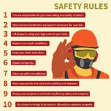 Occupational Safety and Health icons and signs set. Occupational Safety and Health vector icons and signs set. Protective helmet goggles, footwear, and Stock Photos