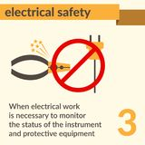 Electrical Safety and Health icons and signs set. Occupational Safety and Health vector icons and signs set. Electrical safety Royalty Free Stock Photos