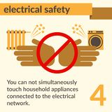 Electrical Safety and Health icons and signs set. Occupational Safety and Health vector icons and signs set. Electrical safety Stock Photography